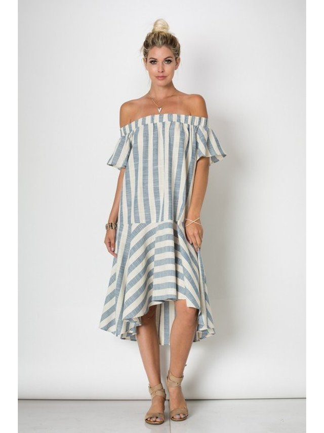 Arcade Attire Off Shoulder Maxi Stripe Dress