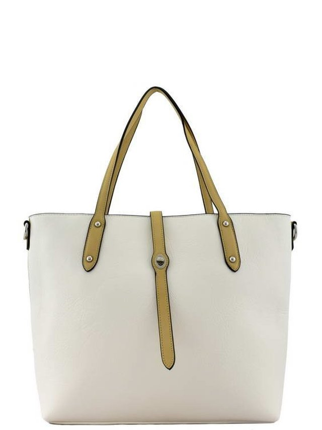 Arcade Attire Leather Handle Tote Bag - White