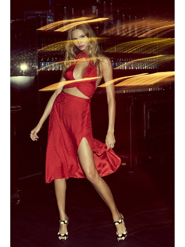 For Love & Lemons Gabriella Button Up Midi Skirt