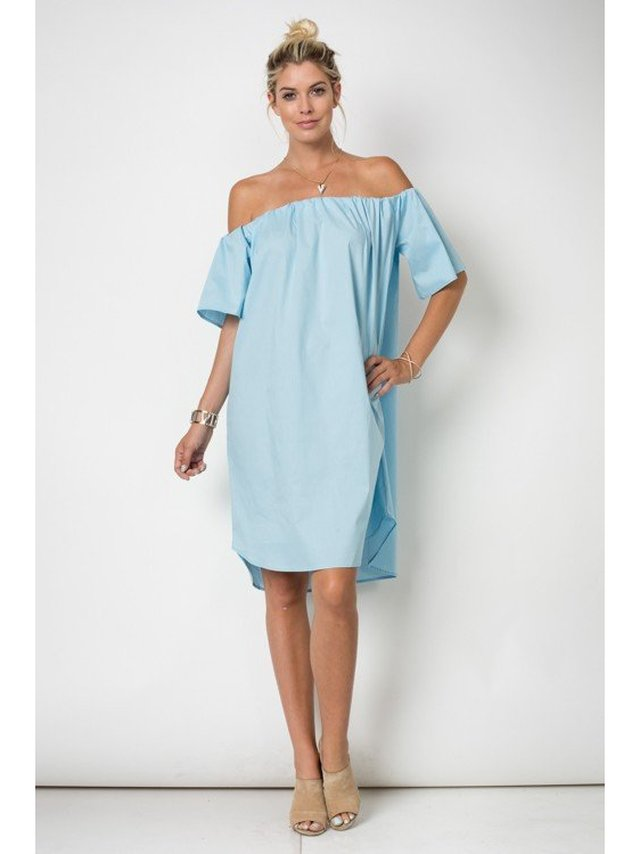 Arcade Attire Off Shoulder Short Sleeve Midi Dress - Teal