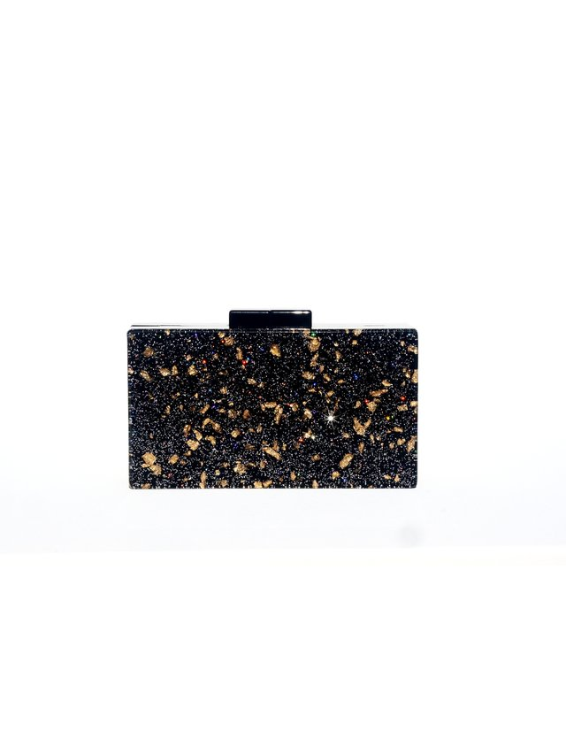 Milanblocks Black Glitter Acrylic Box Clutch