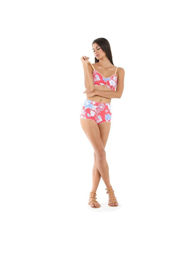 Tulle & Batiste Camelia Bloomers Bikini Bottom Red
