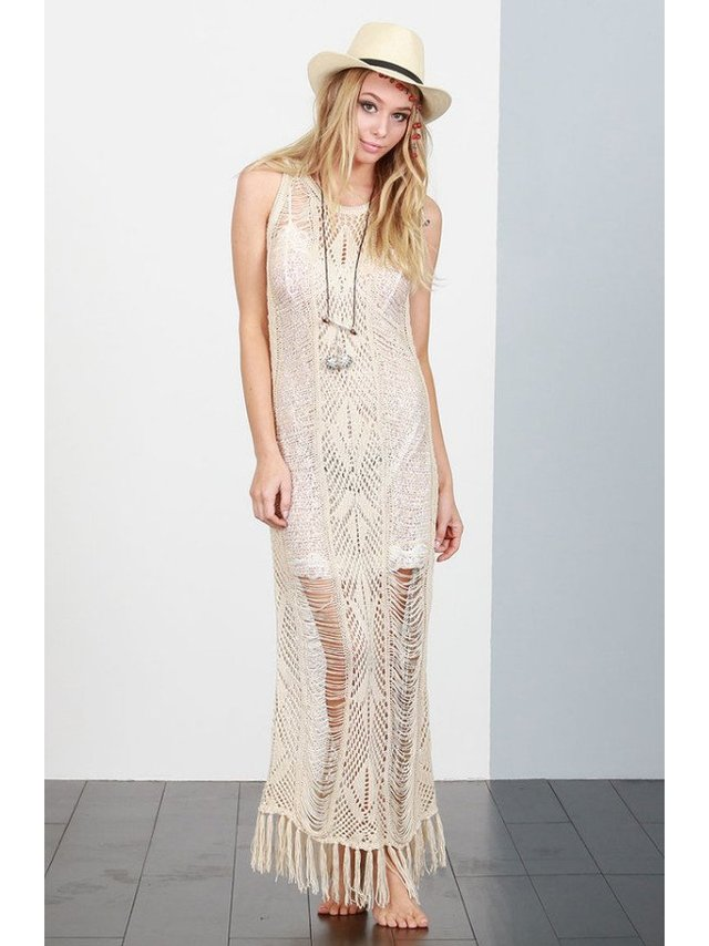 Arcade Attire Crochet Knit Fringe Dress