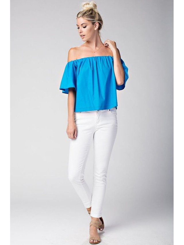 Arcade Attire Off The Shoulder Tunic Top - Turquoise