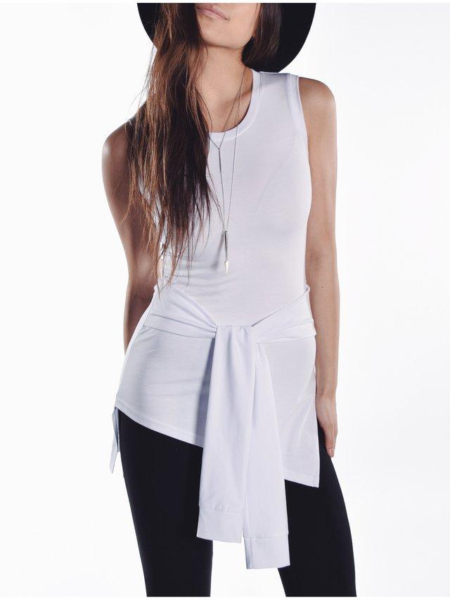 Cara Cheung Romee Waist Tie Tank White