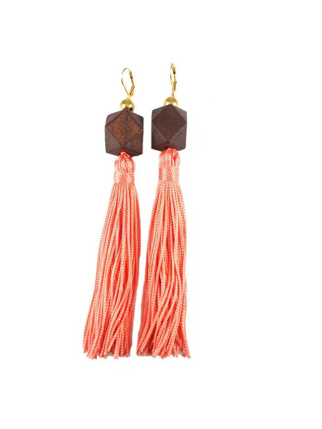 MizDragonfly Gaga Tassel Earrings Brown & Coral