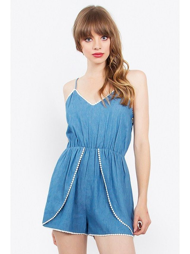 Arcade Attire Sleeveless Romper With Pom Pom Trim