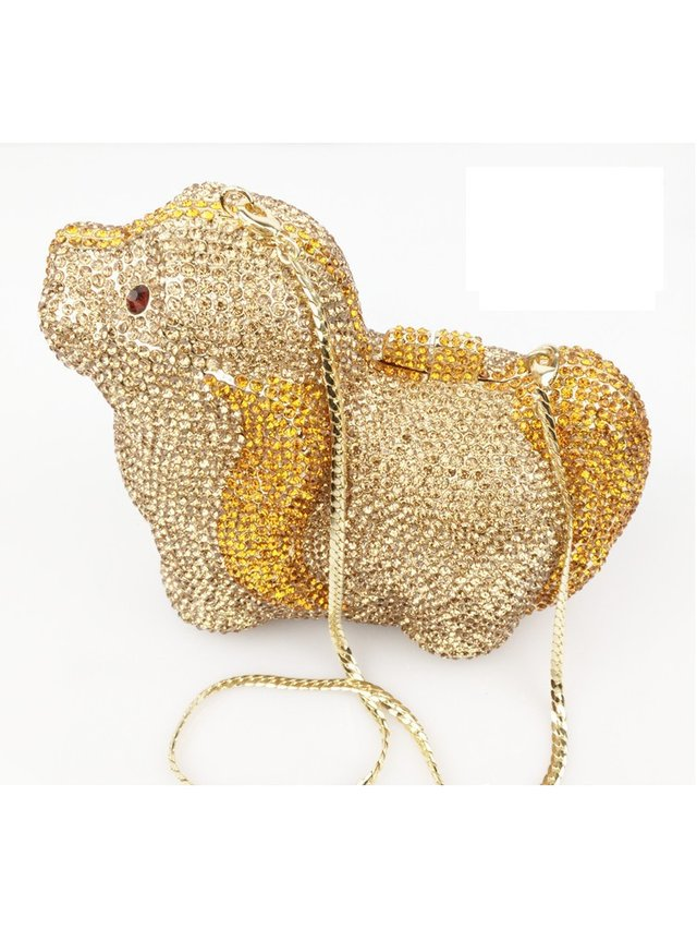 Milanblocks Dog Rhinestone Evening Clutch