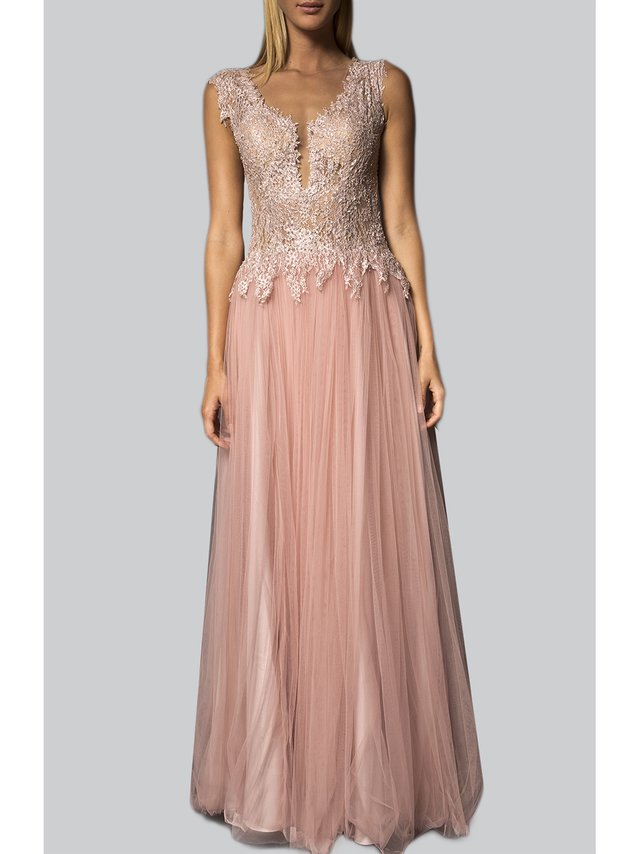 Narces Pink Deep V Lace Gown