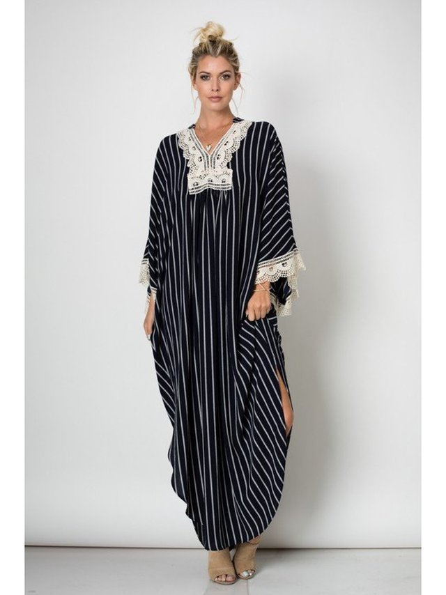 Arcade Attire Kimono Maxi Dress With Lace Trim - Off White/Navy