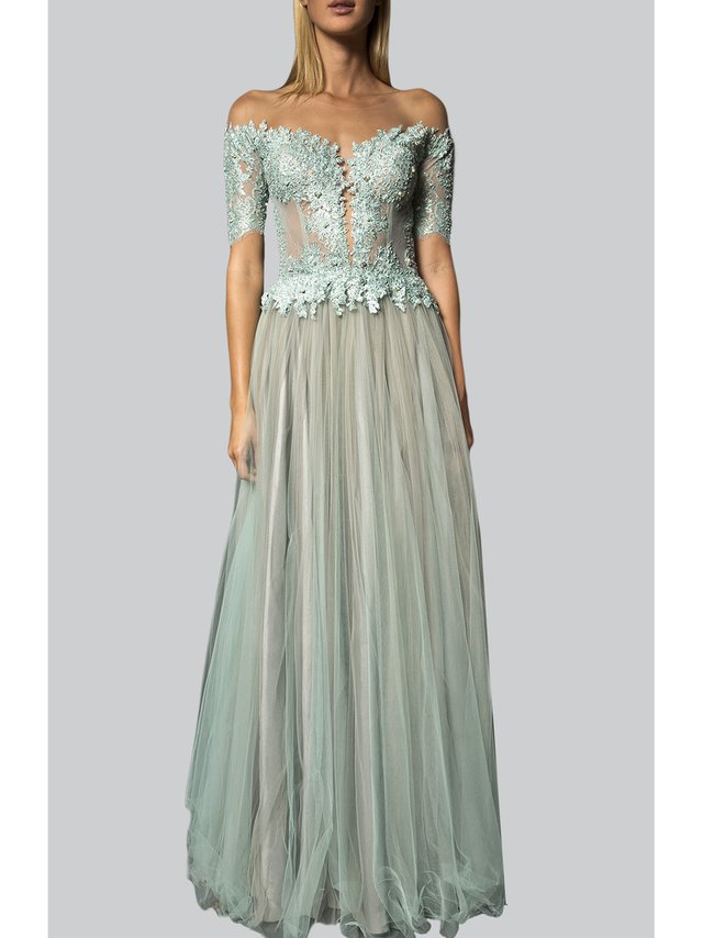 Narces Turquoise Off Shoulder Lace Gown