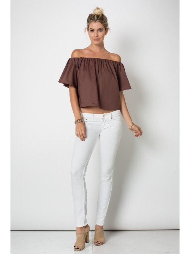 Arcade Attire Off The Shoulder Tunic Top - Brown