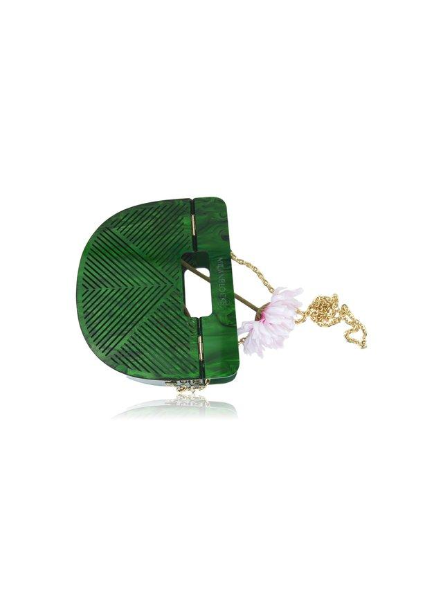 Milanblocks Bamboo Green Geometrical Acrylic Ark Handbag
