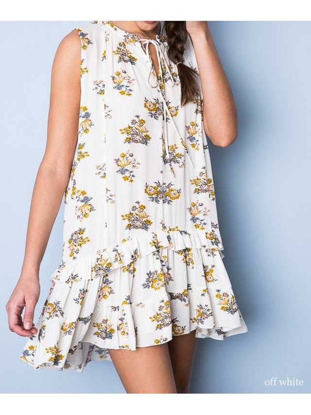 Arcade Attire Ruffle Hem Shift Dress - Off White