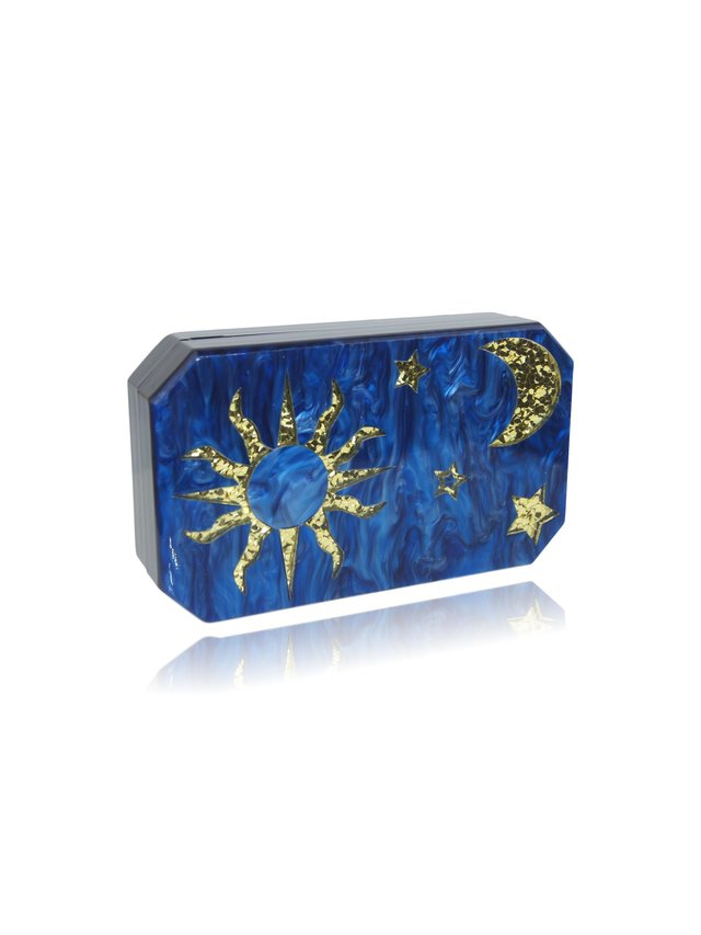 Milanblocks Moon Star Navy Blue Mother Of Pearl Evening Clutch