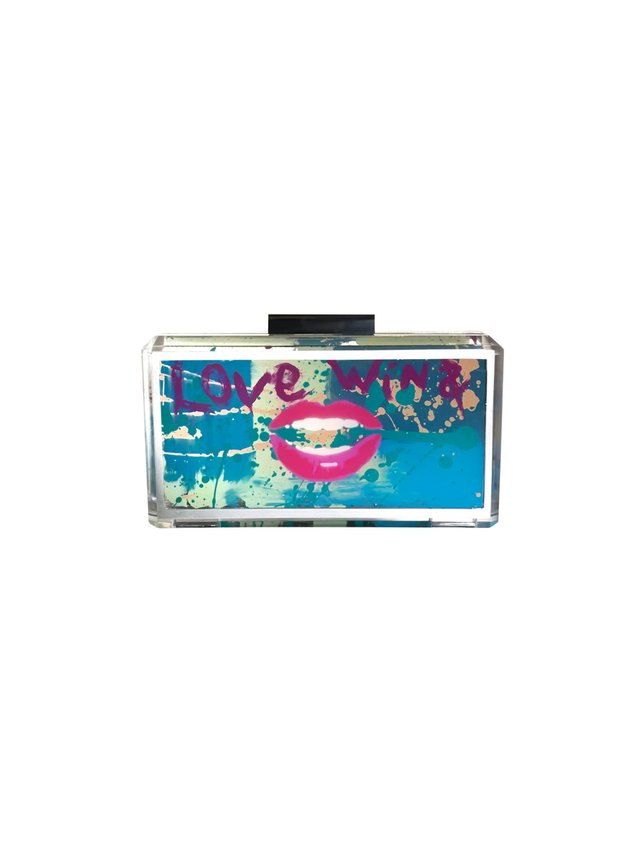 Stefanie Phan Love Wins Hand Painted Graffiti Acrylic Clutch