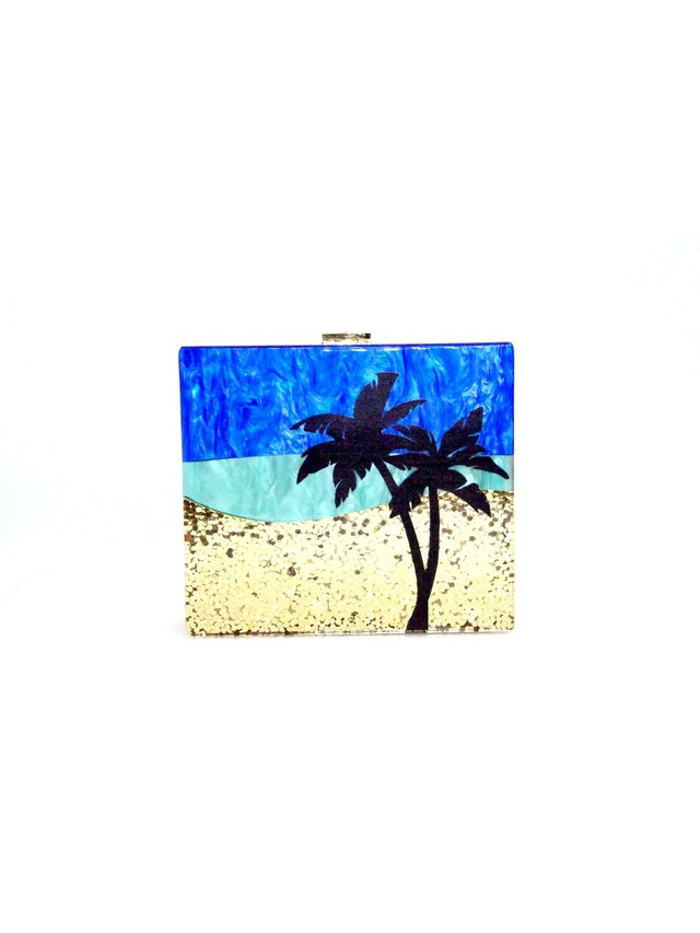 Milanblocks Palm Tree Glitter Clutch