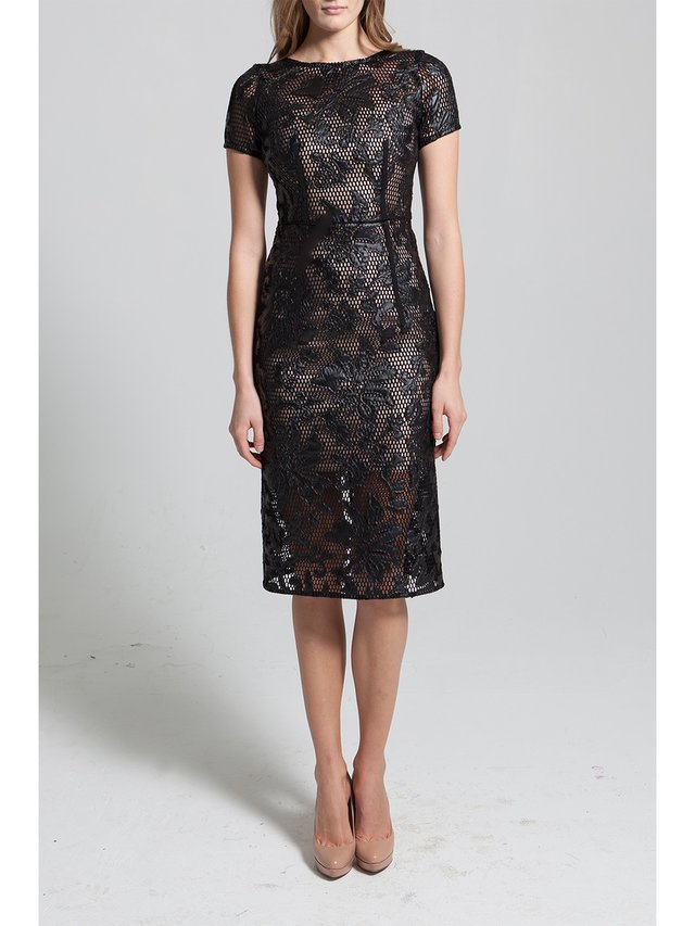 Narces Black Midi Floral Lace Dress