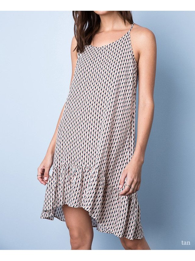 Arcade Attire Printed Slip Dress - Tan