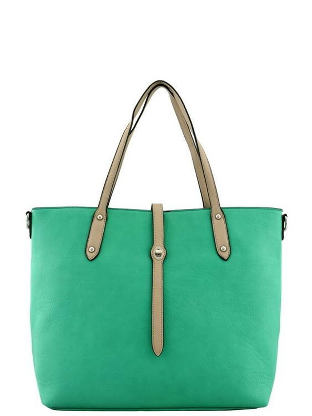 Arcade Attire Leather Handle Tote Bag - Turquoise