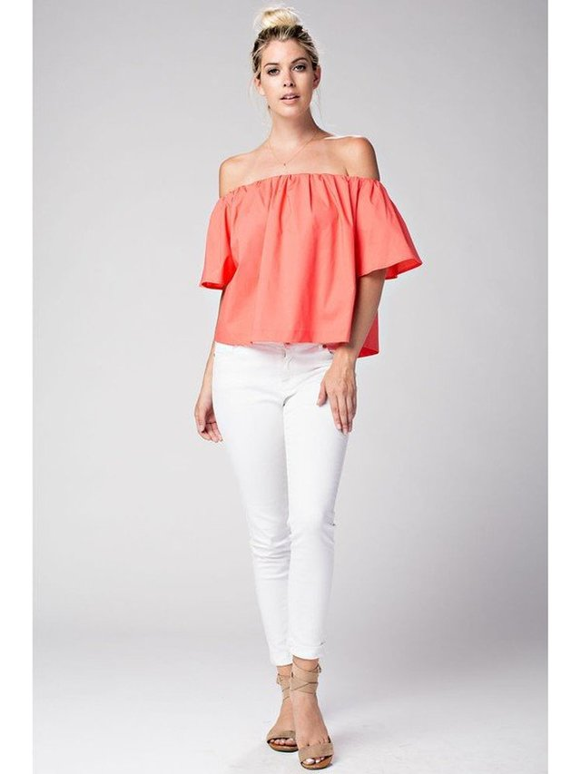 Arcade Attire Off The Shoulder Tunic Top - Coral