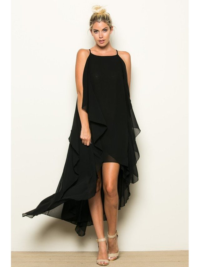 Arcade Attire High Low Big Side Ruffle Dress - Black