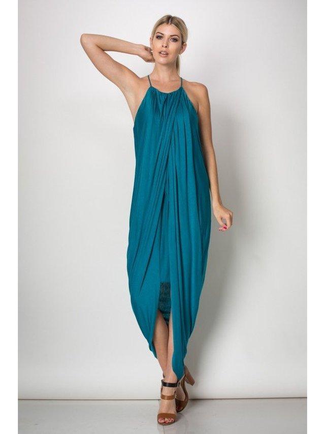 Arcade Attire Spaghetti Layered Skirt Dress - Teal