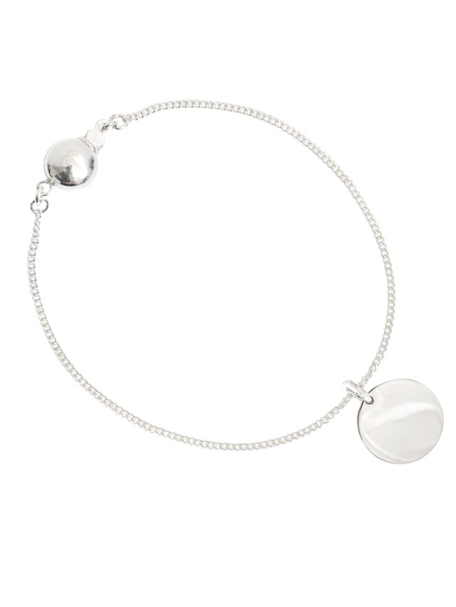 Ternary London SMALL COIN CHARM PENDANT BRACELET SILVER