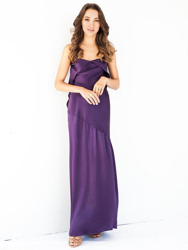 Hilary MacMillan Purple Silk Bias Cut Dress