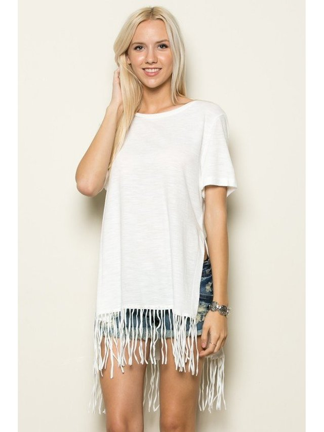 Arcade Attire Short Sleeve Fringe Top