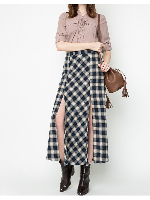 Arcade Attire High Waist Plaid Skirt - Navy/Beige