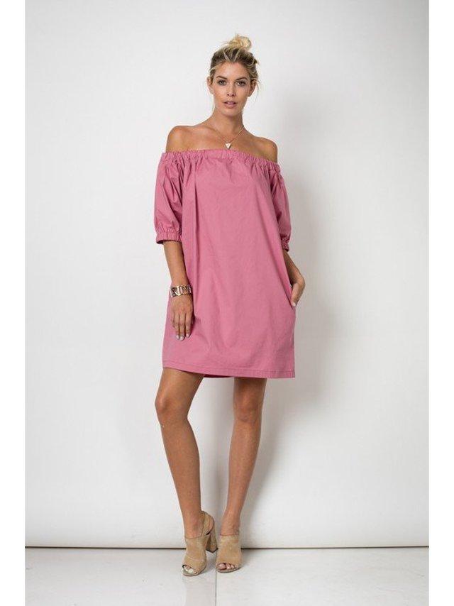 Arcade Attire Knee Length 3/4 Sleeve Off Shoulder Dress