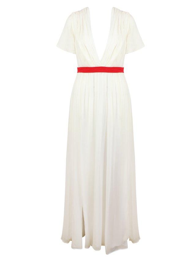 LIZA VETA Ivory Pleated Silk Georgette Floor Length Dress