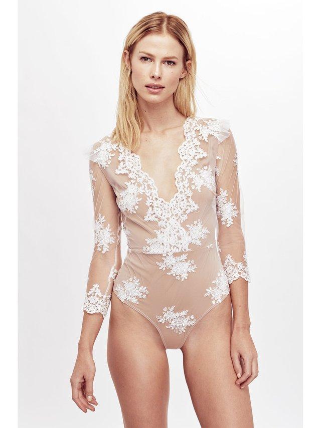 For Love & Lemons Amber Scallop Edge Bodysuit