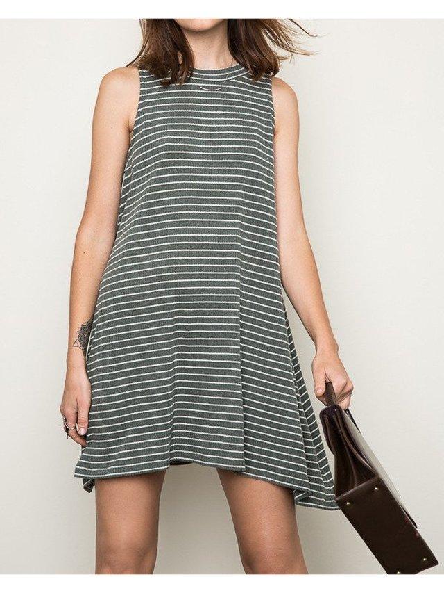 Arcade Attire Stripe Mock Dress - Moss Green