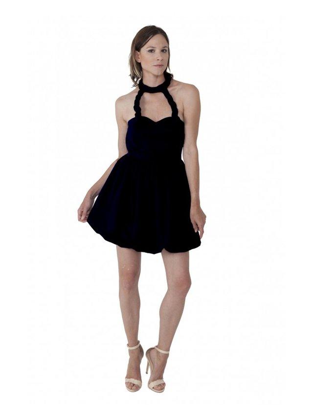 LIZA VETA COTTON BUBBLE DRESS BLACK