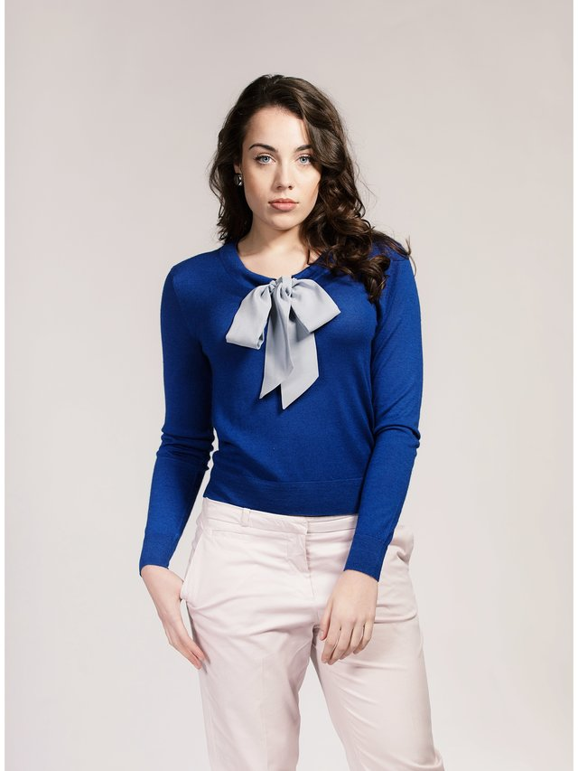 Asneh Sodalite Blue Helen Silk/Cashmere Sweater with Silver Grey Silk Pussy-Bow