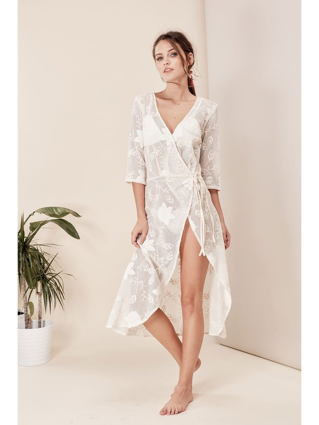 For Love & Lemons Ritz Wrap Midi Dress
