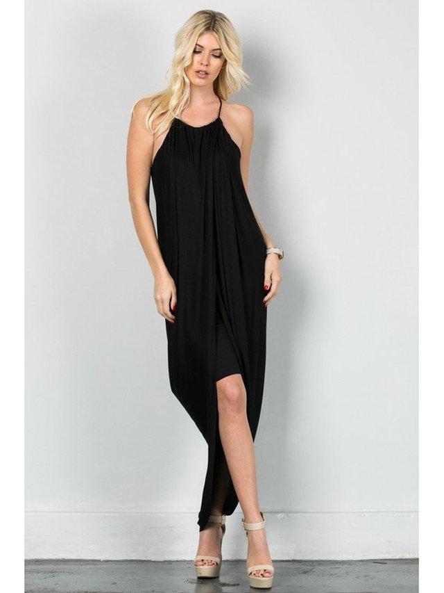 Arcade Attire Spaghetti Layered Skirt Dress - Black