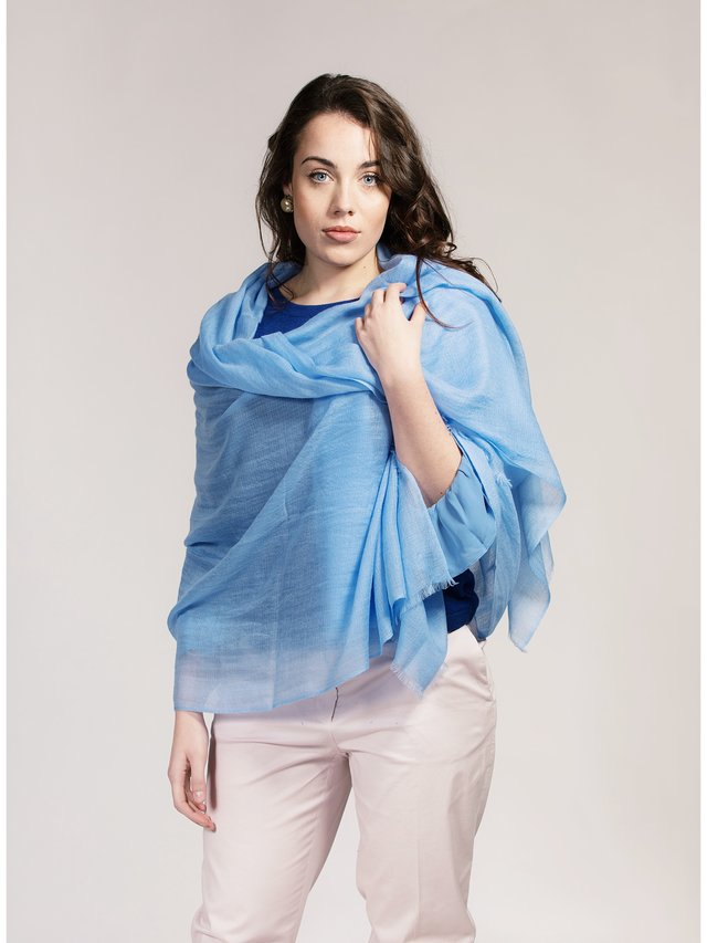 Asneh Blue Lela Cashmere Shawl