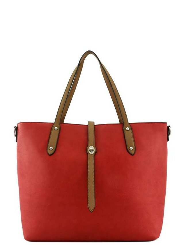 Arcade Attire Leather Handle Tote Bag - Red