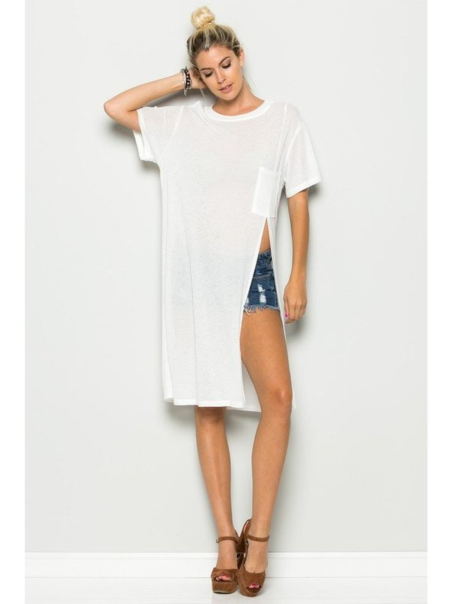 Arcade Attire Side Cut Tunic Top With Pocket - White