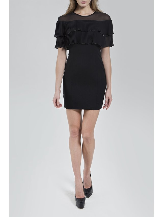Narces Black Mini Frill Dress