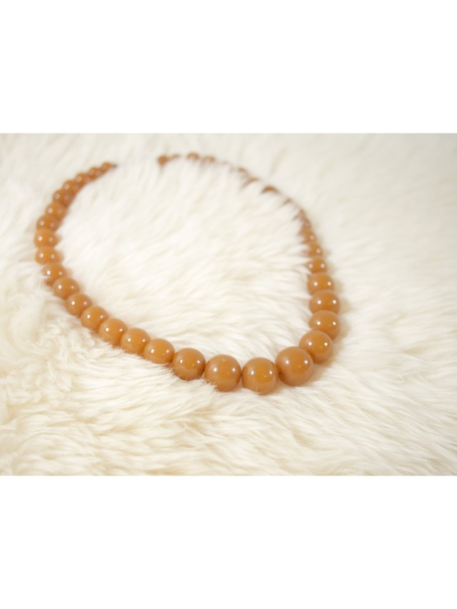 PR-A-PO Vintage Orange Amber Bead Necklace