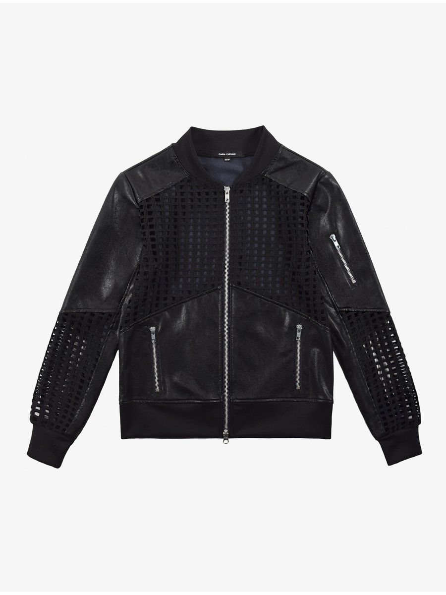 Cara Cheung Lattice Leather Bomber