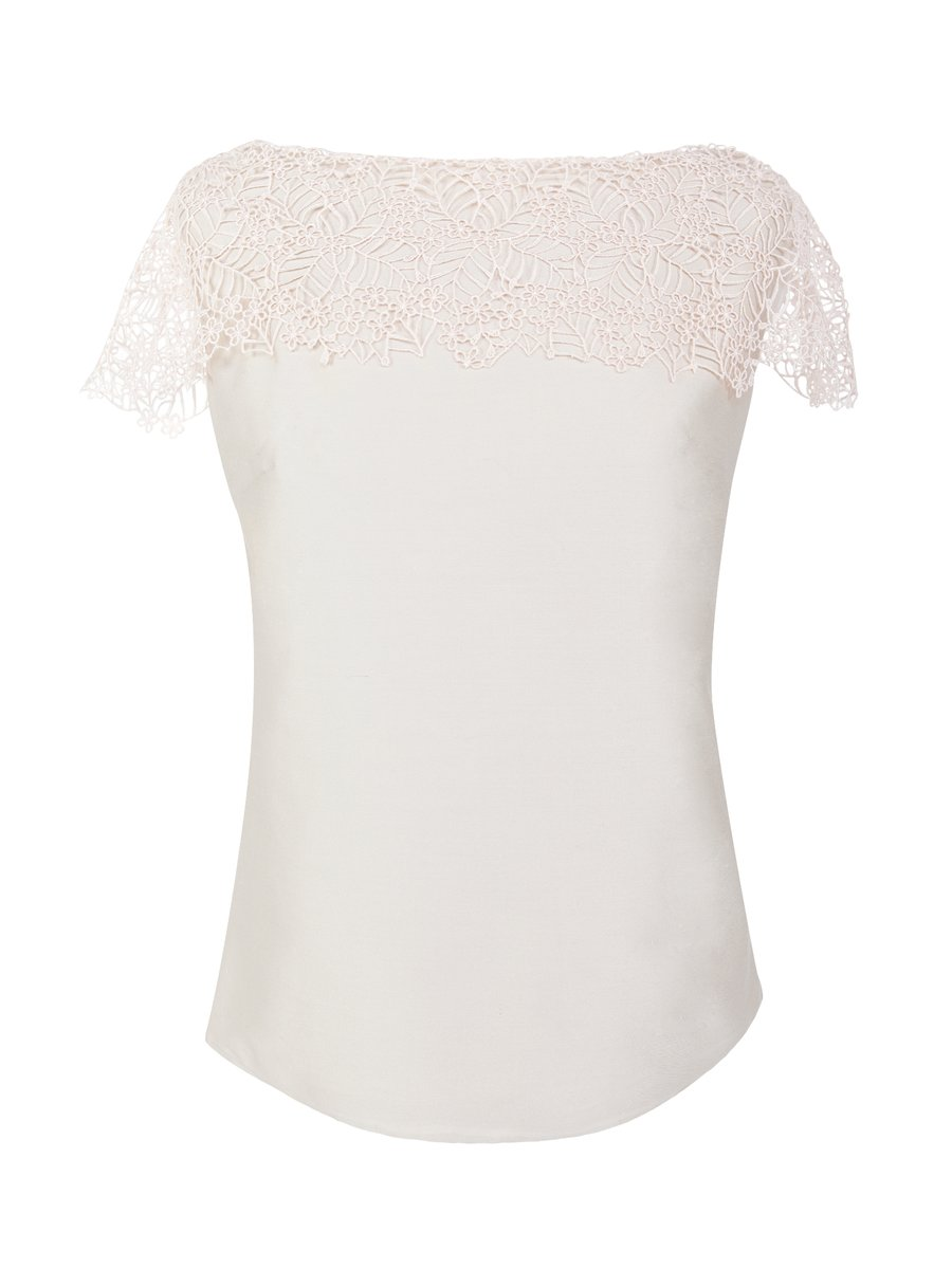LIZA VETA Creme blouse with lace top