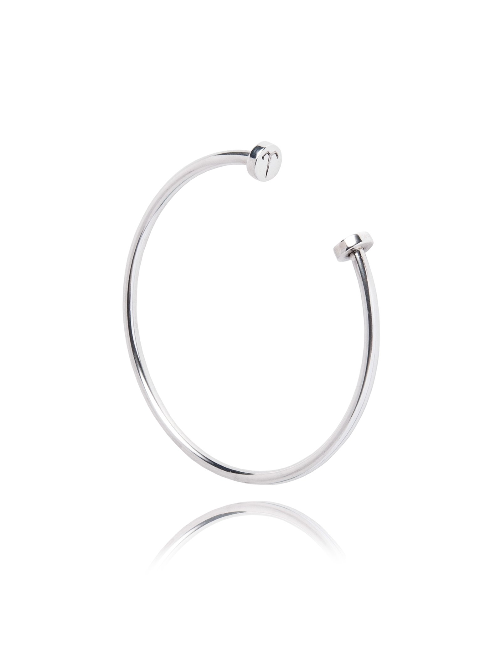 Ternary London GRAPHIC CUT OPEN BANGLE STERLING SILVER