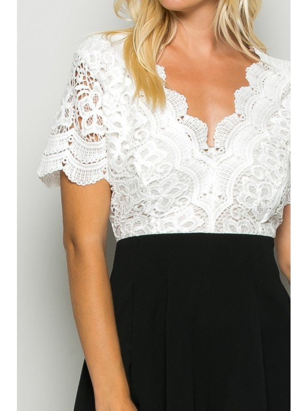 Arcade Attire Open Back Lace Top Romper - Black/Black