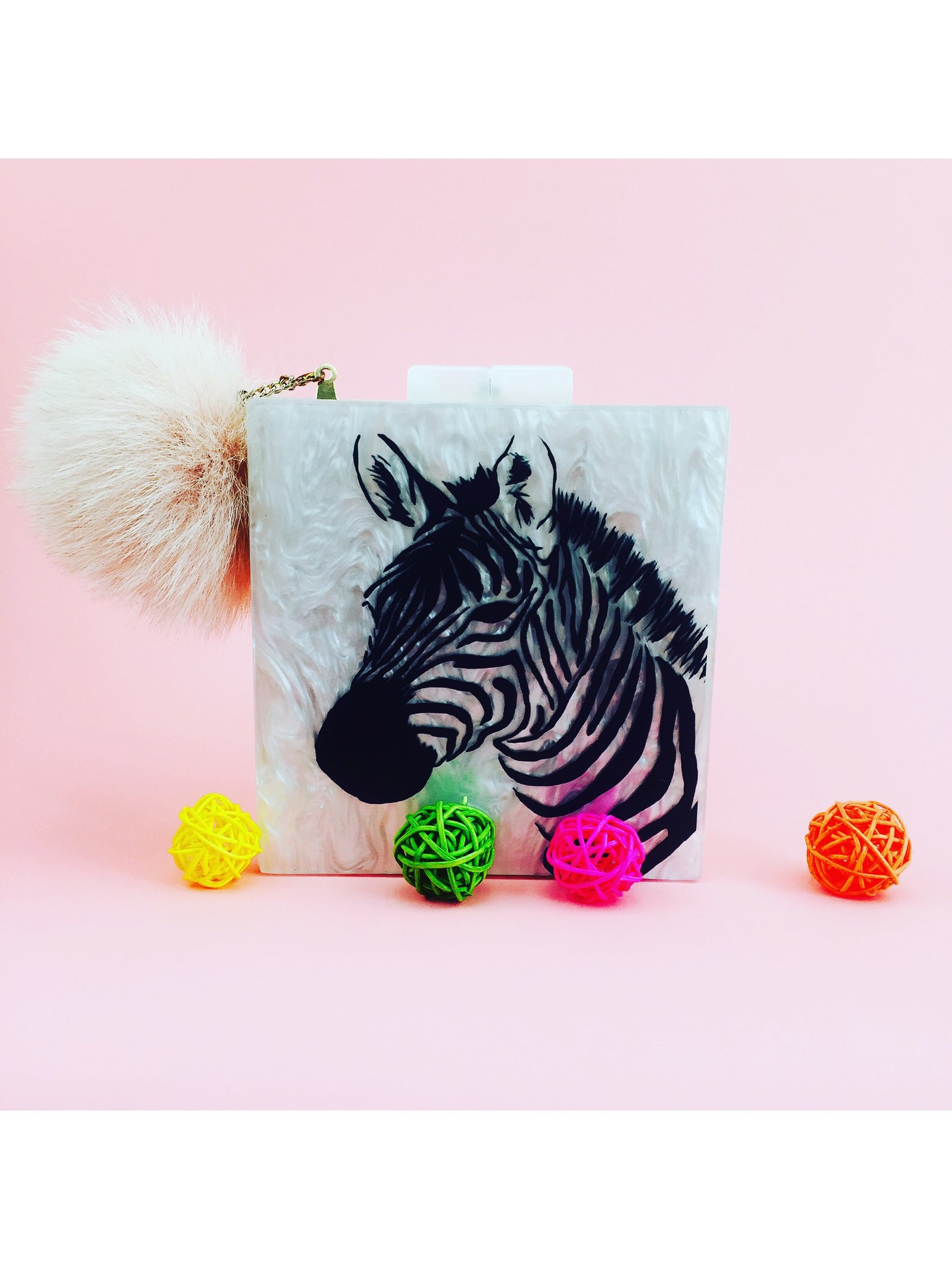 Milanblocks Mother of Pearl Zebra Acrylic Box Clutch