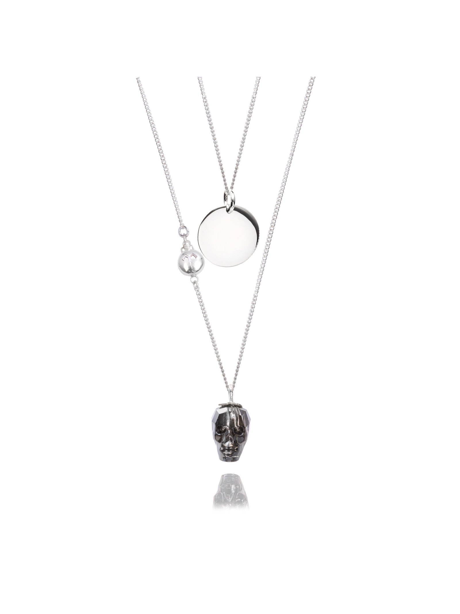 Ternary London DARK PARADISE SWAROVSKI SKULL & STERLING SILVER COIN NECKLACE